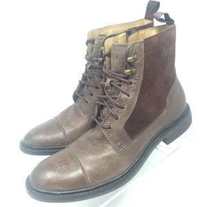 Cole Haan Bellamy Lace Up Leather Toe Cap Boots 8M